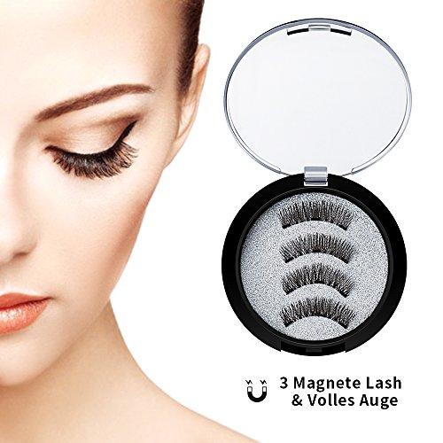 Nipoo Magnet Wimpern 3 Magnete Volle Augen - 3D Wiederverwendbare Natürlich Künstliche Magnetische Falsche Wimpern (1 Paar/4 Stück)