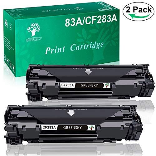 GREENSKY 2 paquete cartucho de tóner compartible de reemplazo para HP CF283A 83A para HP Laserjet Pro MFP M125a M125nw M125rnw M126a M126nw M127fn M127fp M127fw M128fn M128fp M128fw M201dw M201n