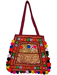 Gaurapakhi Rajasthani Collection And Ethnic Cotton Handmade Handbag With Multicolor For Women's - B07D7HVNSD