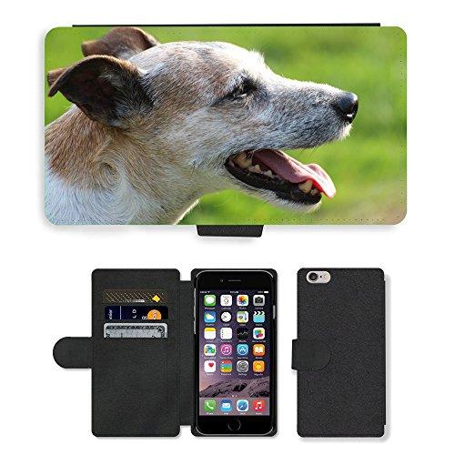 PU Flip Carcasa Funda de Cuero Piel Cubre Case // M00133651 Cane Capo Close Parson Russell Terrier // Apple iPhone 6 4.7