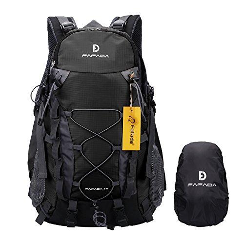 Imagen de fafada 40l unisex  de senderismo viaje marcha del deporte casual escalada trekking con cubierta de lluvia impermeable negro