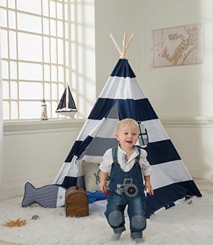 Preisvergleich Produktbild DeceStar Blau Teepee Zelt für Kinder- 100% natürliches Baumwollsegeltuch-Spiel-Zelt für Kinder - Komm mit Matratze und Tragetasche