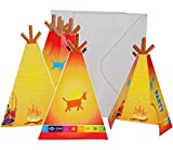 16 tlg. Set Einladungskarten + Umschlag Indianer - Indianerzelt Oder Totem - Party Einladung Karte Pferde Zelt
