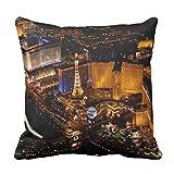 Kissenbezug, Motiv: Hotel Las Vegas mit Antennenansicht, venezianischer Dekoration, quadratisch, 45,7 x 45,7 cm