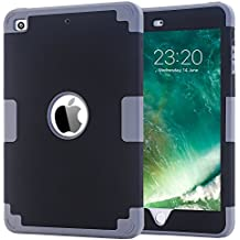 Funda para iPad Mini 1 2 3, BENTOBEN Carcasa Cover Case Anti-deslizante Anti-golpes Anti-resistente Silicona PC Híbrido Tres Capas Protectora Funda para iPad Mini / iPad Mini 2 / iPad Mini 3, Negro y Gris