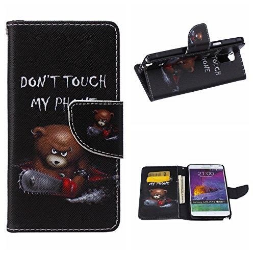 MOONCASE Galaxy Note 4 Hülle, [Bear] Muster Schutzhülle Leder Tasche Brieftasche [Stoßdämpfende] TPU Case mit Standfunktion und Karte Halter für Samsung Galaxy Note 4