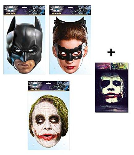 Batman offiziell DC Comics Variety Karte Partei Gesichtsmasken (Maske) Packung von 3 ( Enthält Batman, Catwoman und Der Joker) Enthält 6X4 (15X10Cm) starfoto