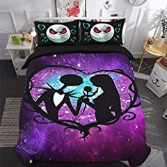 Idea Regalo - WONGS BEDDING Set di Lenzuola Skull Double 3D Nightmare Before Christmas Set copripiumini Lover Hypoallergenic Soft Microfiber Trapunta Set di copripiumini con 2 Federa Chiusura con Cerniera
