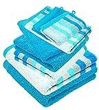 Lashuma Handtuch Set 8 teilig | 2X Waschhandschuh 15x21 | 2X Gästetuch 30x50 | 2X Frotteetuch 50x100 | 2X Duschtuch 70x140 | Türkis - Blau