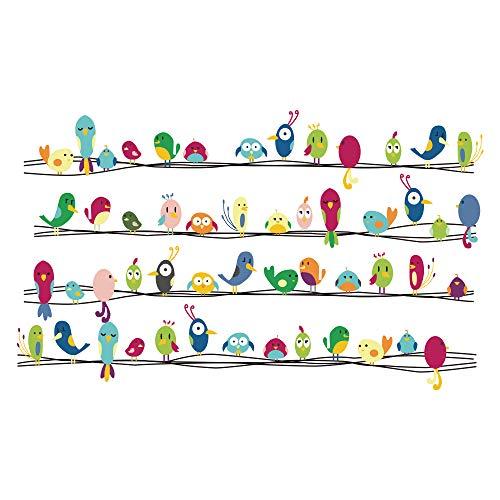 Decalmile Vinilos Vistoso Lindo Animales Pájaros Pegatinas Pared Desmontable Decorativos Adhesivos...