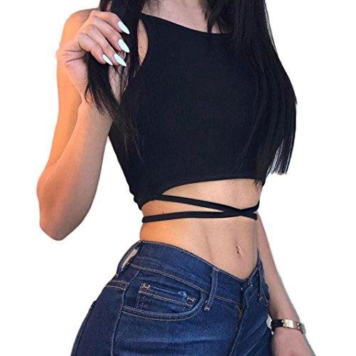 "Damen Weste FORH Frauen Sexy Neckholder Ã""rmelloses Tank Crop Tops Hipster Backless Bandage Weste Bluse Fashion Sommer Kurz T-Shirt Streetwear Clubwear Oberteile (Schwarz, S)"