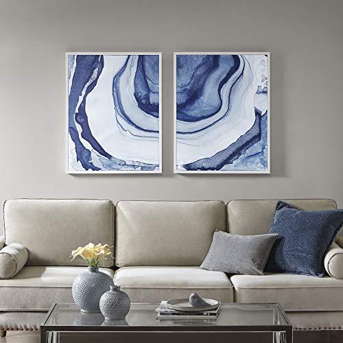 Madison Park Ethereal Wandbild in Weiß Rahmen modern abstrakt, 2-teiliges Set Gemälde Wohnzimmerdekor -