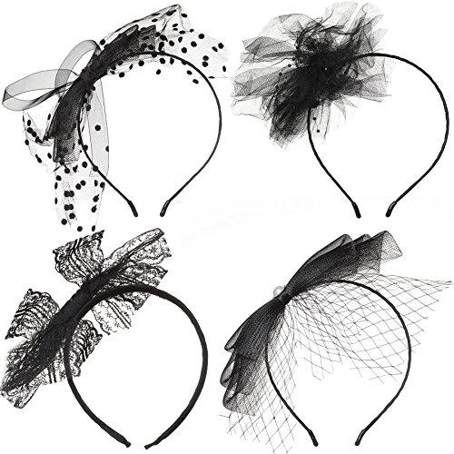 Kostüm Inspirierte Jahre 80er - ArtiDeco 1980s Haarreif Damen Vintage Lace Stirnband 80er Jahre Kostüm Zubehör Haarband Disco Party Accessoires (4 Stück - Schwarz)