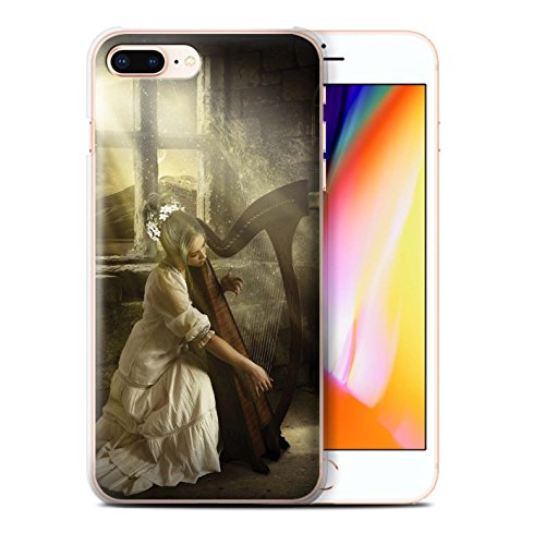 Offiziell Elena Dudina Hülle / Case für Apple iPhone 8 Plus / Harfe/Harfenspieler Muster / Trost der Musik Kollektion Harfe/Harfenspieler
