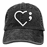 Fashion Home Heart Semicolon Suicide Prevention Awareness Yarn-Dyed Adjustable Denim Baseball Cap