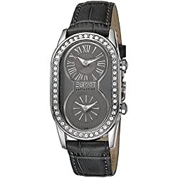 Esprit Collection Women's Quartz Watch with Grey Dial Analogue Display and Gold Leather Athena EL101192F03