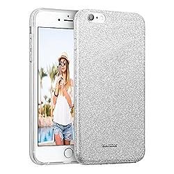 Conie STPU1668 Shiny TPU Kompatibel mit iPhone 6 / 6S, Glitzer Hülle Silikon Dünn Designer Schutzhülle für iPhone 6S iPhone 6 Case Glitter Silber