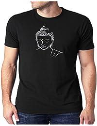 HEYUZE Printed 100% Cotton Half Sleeve Male/Men Round Neck Black T Shirt With Buddha Design