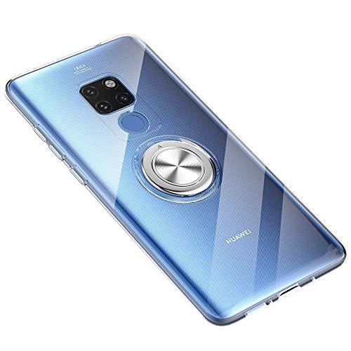 Hülle für Huawei Mate 20 Pro, Mate 20 Handyhülle Ultra Dünn Clear Transparent Hülle Überzug 360 ° Verdrehbare Ring+Stand Magnetic Autohalterung Tasche Schutzhülle (Transparent, Huawei Mate 20 Pro) - Pro-style-folie