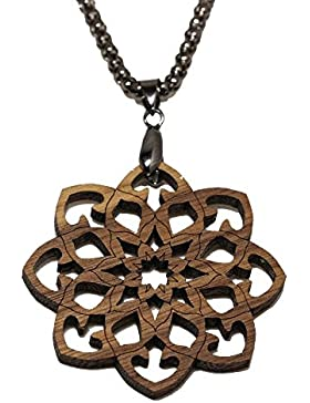 Mandala - Holzanhänger - Amulett mit Halskette