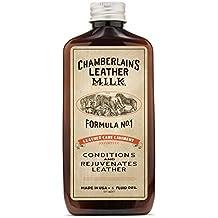 Chamberlain's Leather Milk - Balsamo e detergente per cuoio e pelle - Lozione Leather Care Liniment No 1. Balsamo completamente naturale e atossico made in USA. 2 dimensioni. Con applicatore premium incluso nella confezione. - 0.18 L