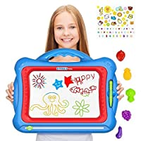 Geekper Magnetic Drawing Board For Kids with 5 Shape Stamps and Lovely Sticker Erasable 41 x 33 x 3 Big Size colorful magna Doodle Board Toys for Kids Writing Sketching Pad set