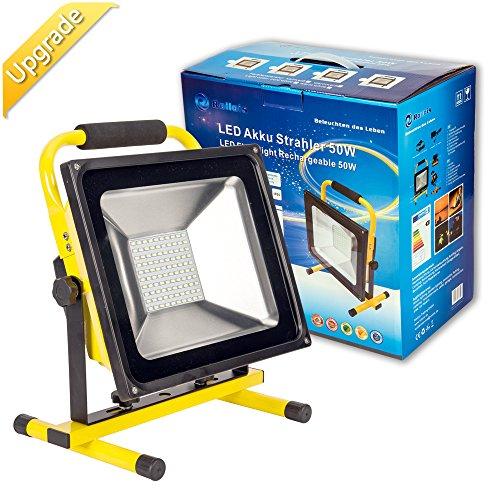Roilois 50W LED Akku Lampe Strahler Baustrahler, mit 2 Lichtstärke Stufen und erhöhter Akku Kapazität bis zu 8 Stunden leuchten IP65 Wasserdicht(gelb)