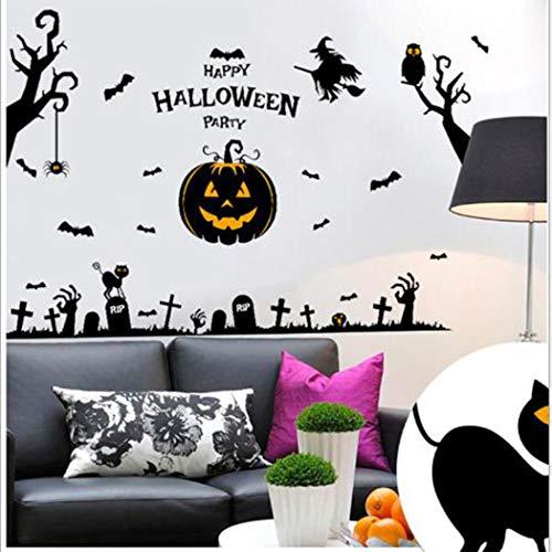 Yue Century Halloween Dekorationen, Wandtattoos Kürbisse Friedhof Hexe Fledermäuse Grab Wandtattoos Fensteraufkleber Halloween Dekorationen