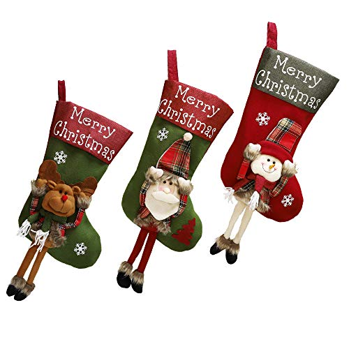 Shanke 3pcs Calcetines Navidad Medias Decoracoón