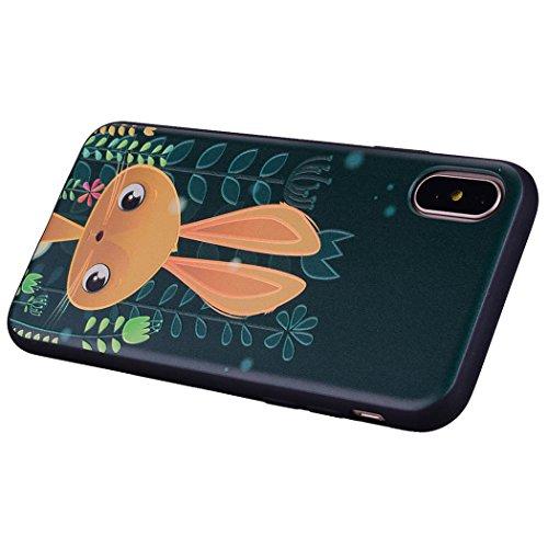 Moda Pittura Colorata Ghepardo Custodia iPhone X, per Apple iPhone 10 X Case Cover Flessibile Ultra Sottile TPU Verde