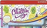 Feutre de Dessin - STABILO Pen 68 - Boîte Métal x 50 Feutres - Décor CHILLIN' Ananas - Coloris Assortis