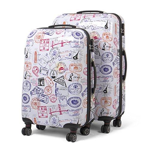 MasterGear Design Koffer Set 2 tlg in bunt , Größe: M & L , Reisekoffer 4 Rollen (360 Grad) , Trolley, Kofferset, Hartschalenkoffer , ABS Koffer Hartschale...