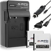 2 Batterie + Caricabatteria (Auto/Corrente) per Casio NP-40, Exilim FC150.../ BenQ / Silvercrest - vedi lista