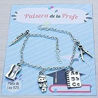 """Pulsera de""""LAS PROFESIONES"""" en plata de Ley 925. Brazalete con abalorios para la PROFE profesora Maestra"""