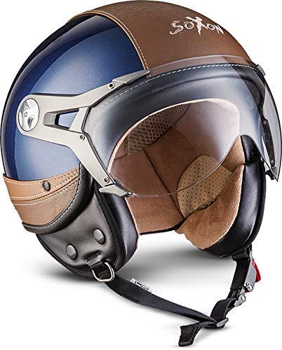 "Soxon® SP-325 Urban ""Blue"" · Jet-Helm · Motorrad-Helm Roller-Helm Scooter-Helm Bobber Mofa-Helm Chopper Retro Cruiser Vintage Pilot · ECE Visier Leather-Design Schnellverschluss Tasche L (59-60cm)"