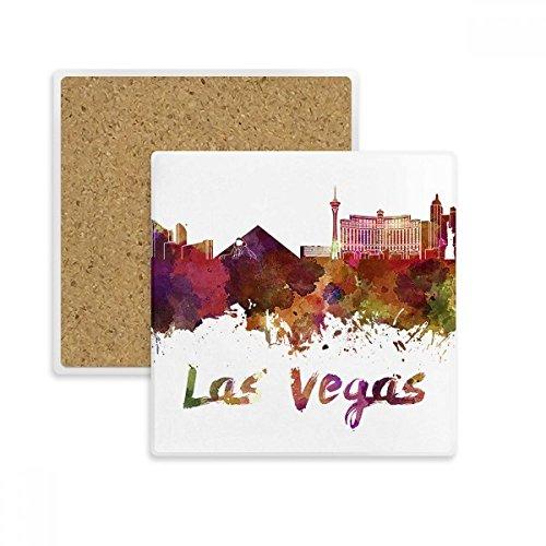 DIYthinker Las Vegas Amerika Stadt Aquarell-Platz Coaster-Schalen-Becher-Halter Absorbent Stein für Getränke 2ST Geschenk Mehrfarbig