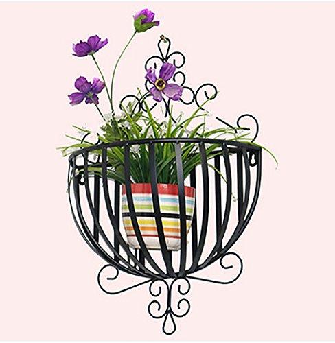 Flower Frame Ferro fai da te attaccatura di parete Fiore Rack semicircolare parete decorativo cestino del fiore Vaso appeso balcone Fiore Rack Flower Pot Rack Bonsai Telaio ( colore : Nero