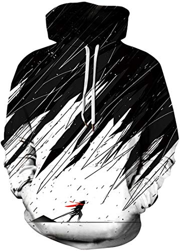 EMILYLE Herren Digitaldruck Galaxy Bunt Sweatshirt Langarm Kapuzenjacke Tier Muster Frühling Jumper Fashion Pullover (S/M, Sturm) (Pullover Sturm)