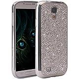 Galaxy S4 I9500 Case, Galaxy S4 I9500 Funda Silicona, Asnlove carcasas y funda Gel silicone brillo back case shell skin diseño bling brillante tapa trasera para Samsung Galaxy S4 I9500 I9505, Plateado