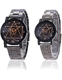 Chocozone Stainless Steel Black Dial Mens & Womens Formal Casual Wear Analog Couple Watch
