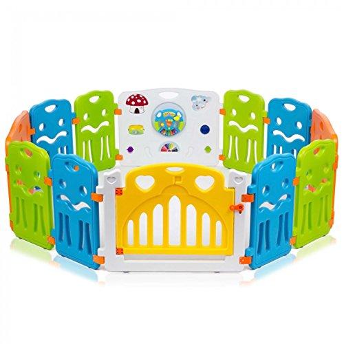Baby Vivo Laufgitter Laufstall Baby Absperrgitter Krabbelgitter Schutzgitter für Kinder aus Kunststoff mit Tür und Spielzeug - COLORS XL erweiterbar - Modell 2018 - 2