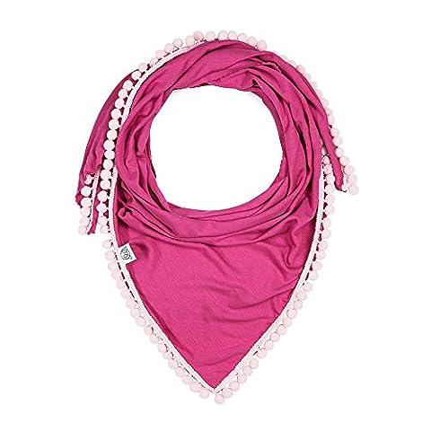 MayLily® Premium | Schöne dreieckige Bambus Halstuch Schal für jeden Super Mode Baby | PomPom (Fucsia Bambù)