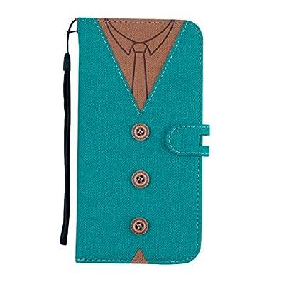MoreChioce iPhone 8 Plus Hülle,iPhone 7 Plus Leder Flip Case, Fashion Nähen Krawatte Stoff Schutzhülle Klapptasche Stand Brieftasche Magnetverschluß mit Kartenfach für iPhone 7 Plus / 8 Plus