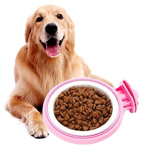Happy-L Heimtierbedarf, Bunter örtlich festgelegter Abnehmbarer Suspensibility Hundeschüsseln-Haustier-Schüsseln, Schüssel-Größe: L, 12 * 5,0 * 4,0 cm (Farbe : Rosa) (So So Happy Hoodie)