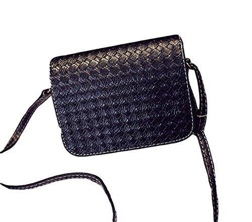 Messenger Bag Spalla Del Modello Borse Di Modo Tessuto Semplice Sacchetto Piccolo Pacchetto Quadrato Signora Black