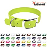 LENNIE BioThane Halsband, Dornschnalle, 13 mm breit, Größe 23-27 cm, Neon-Gelb, 3 Größen, 25 Farben, Hundehalsband