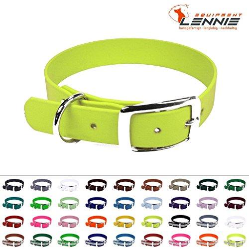 BioThane® Halsband mit Dornschnalle / 19 mm breit / 4 Längen [30-36 cm] / 48 Farben [Neon-Gelb]