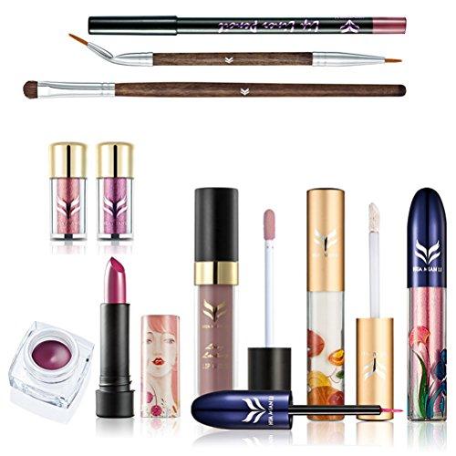 Frcolor 10 pcs Cosmétique Maquillage Ensemble Concealer Eyeliner Brosse Fard À Paupières Poudre Rouge à Lèvres Maquillage Kit Beauté Outil