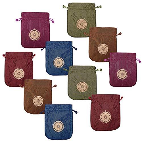 nbeads 10 Stücke Brokat Seide Schmuck Schmuck Beutel Kordelzug Geschenk Tasche Taschen Geldbörse Candy Bag, Mischfarbe, 15x12.5cm