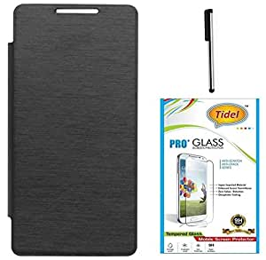 Tidel Premium Durable Flip Cover Case for HTC Desire 326G( Black ) With Tidel 2.5D Curved Tempered Glass & Stylus